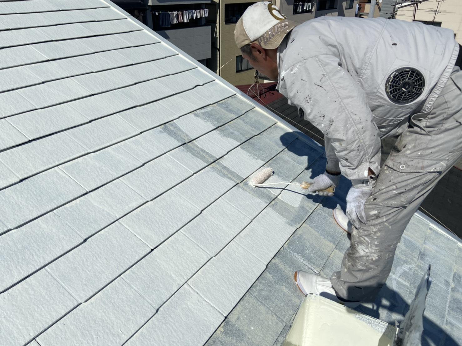 カラーベスト屋根塗装下塗り2回目@高槻市宮野町