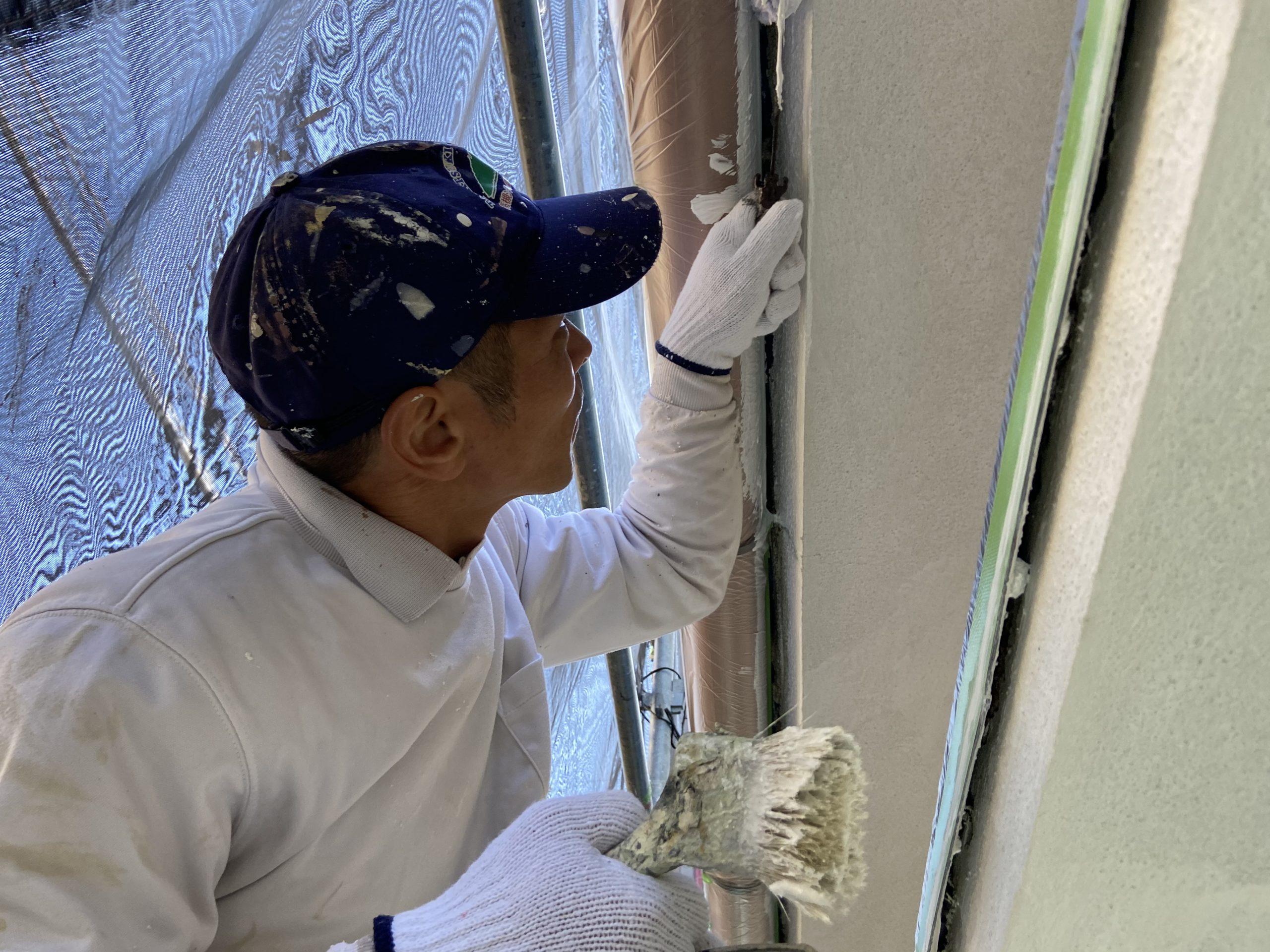 茨木・高槻の外壁屋根塗装防水YJリフォーム外壁刷毛塗装@高槻市土橋町