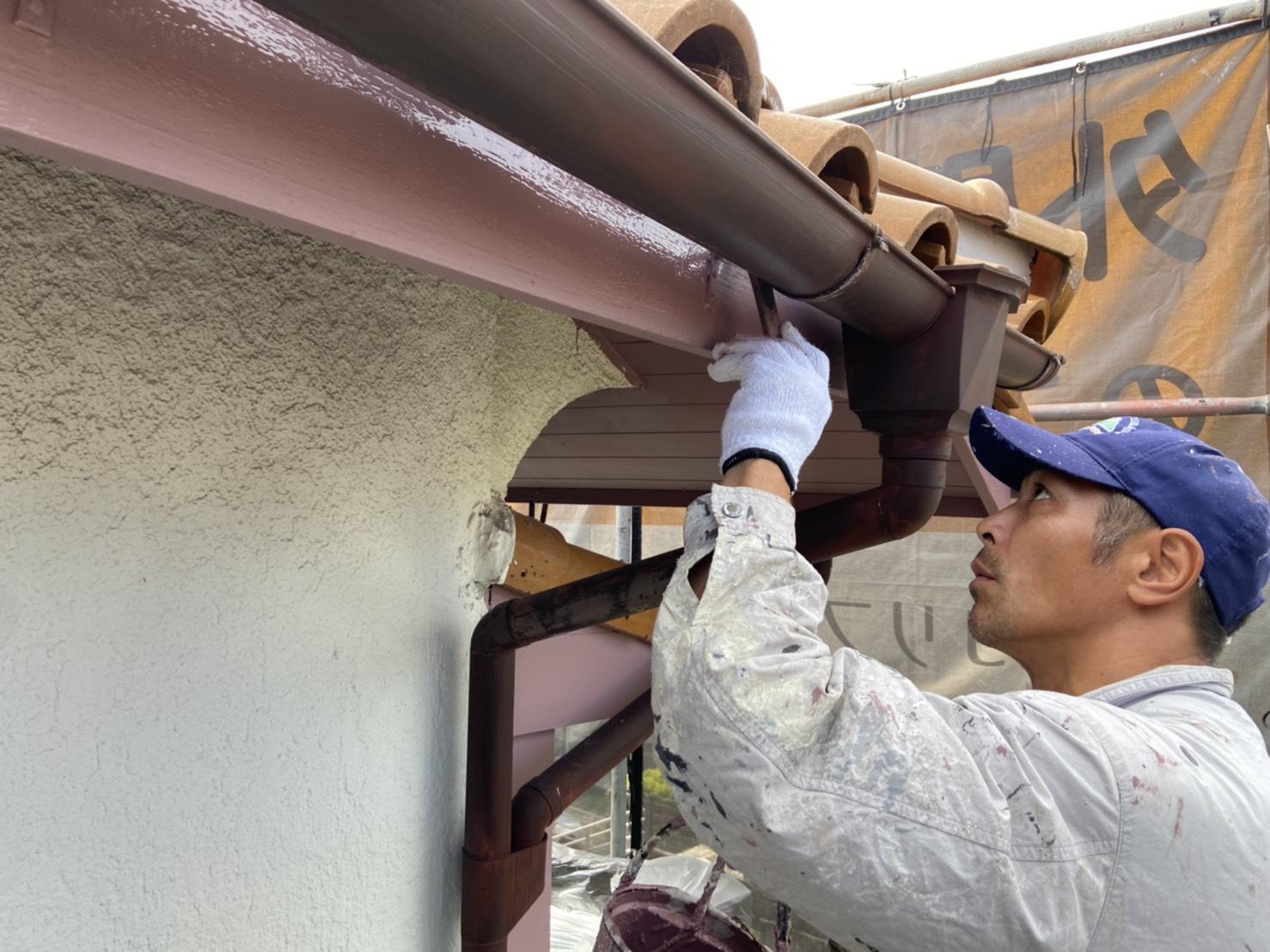 茨木・高槻の外壁塗装YJリフォーム木部下塗り@吹田市山田