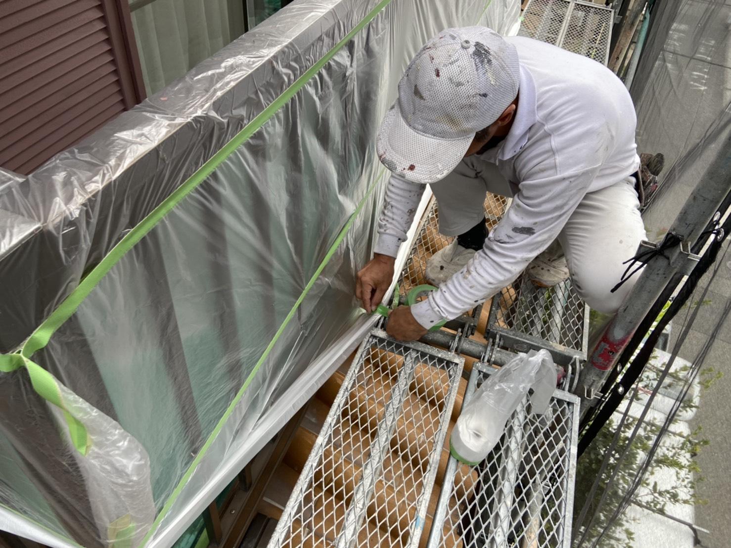 茨木・高槻の外壁塗装YJリフォームビニール養生@吹田市山田