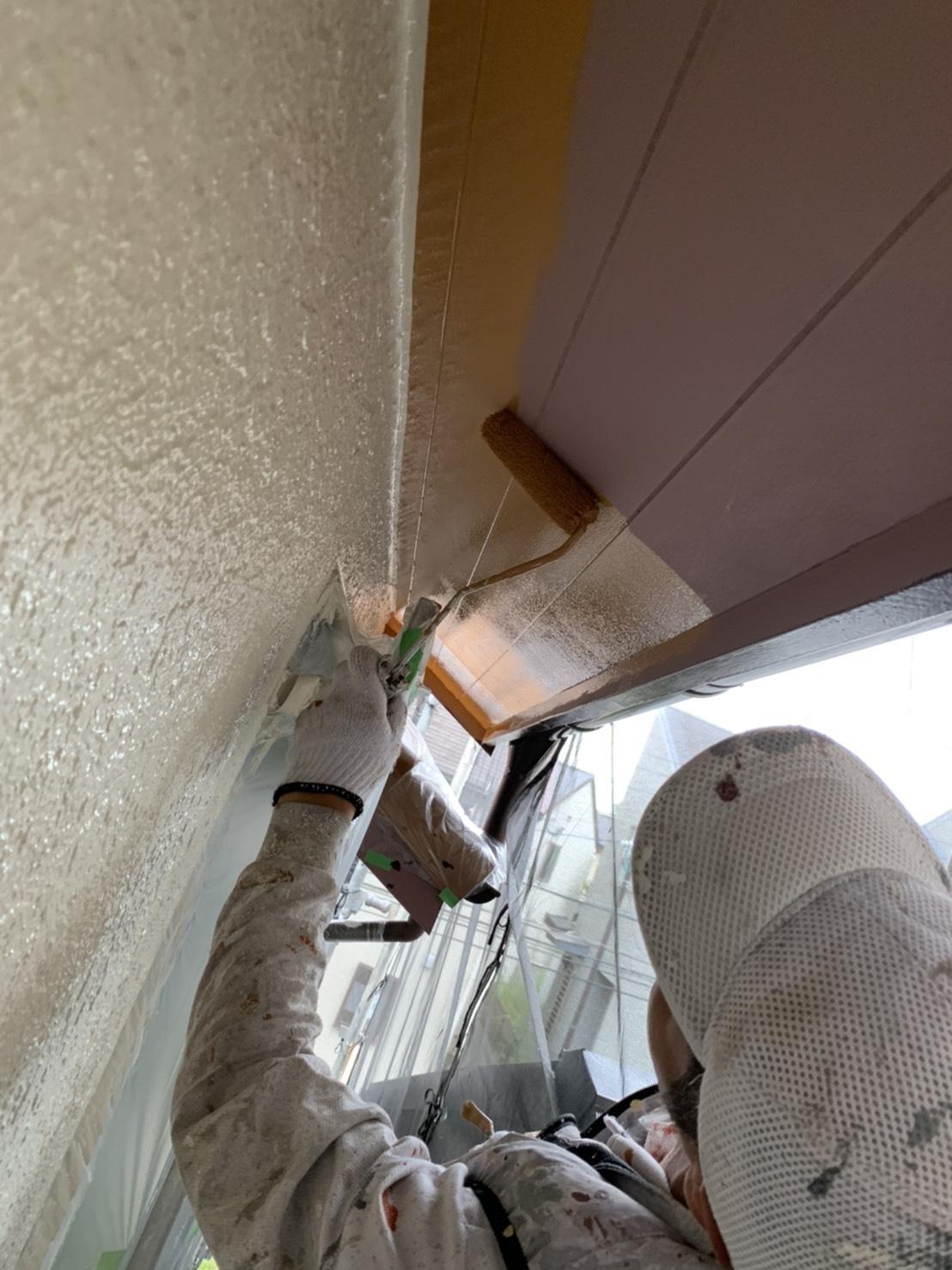 茨木・高槻の外壁塗装YJリフォーム軒天ベニヤ板塗装@吹田市山田