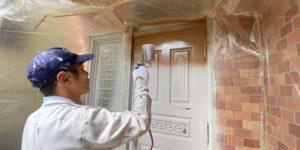 茨木・高槻の外壁塗装YJリフォーム玄関ドア吹付@吹田市山田